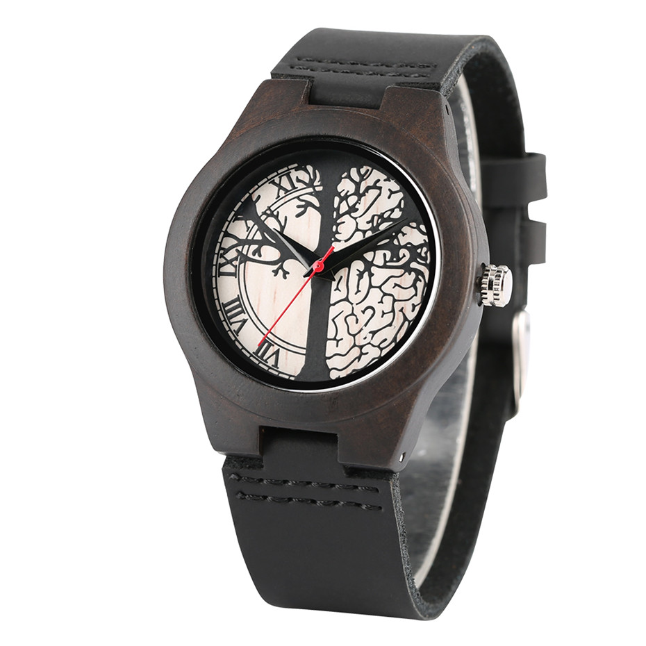 Couple Watches Leather-Band Wooden Clock Quartz Black Dial Valentine's-Day-Gift Life-Tree