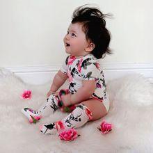 От 0 до 18 месяцев, Pudcoco, 2 предмета, боди с цветочным рисунком для маленьких девочек+ гетры, комбинезон, одежда