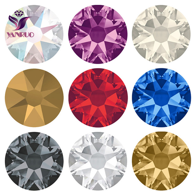 YANRUO 2088 Hot Fix Crystal Rhinestones Glass Hotfix Strass Stone Crystals  AB Iron on Clothes ca35a410083d