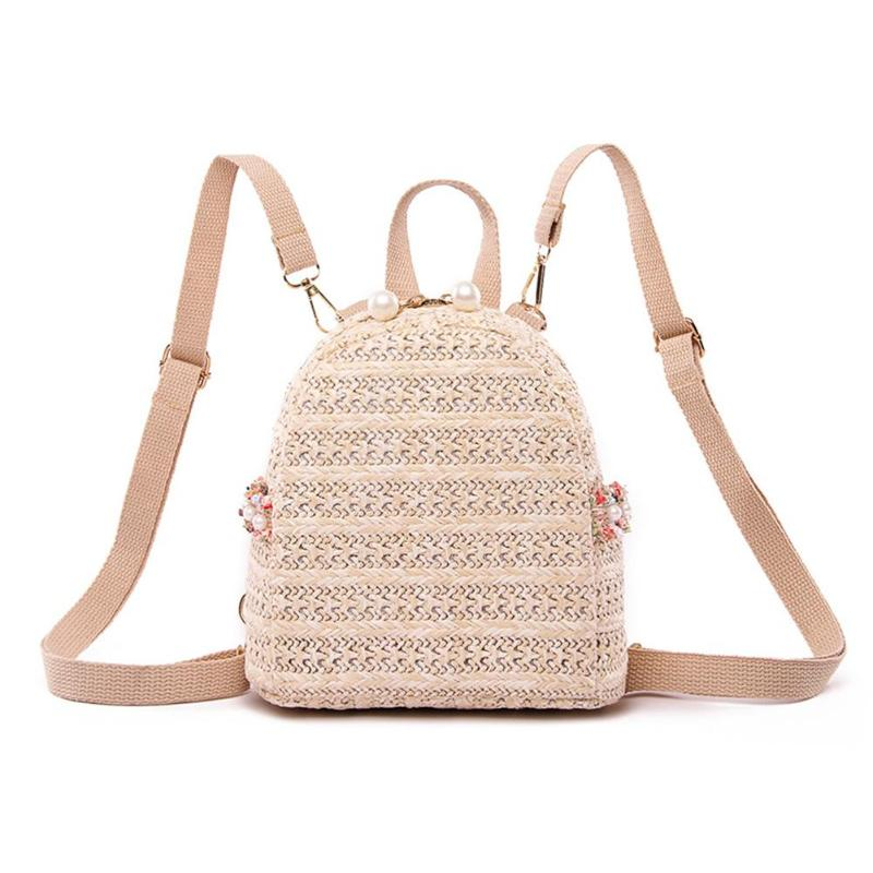 Fashion Pearl Straw Backpack Women Teenager Girls Travel Shoulder Schoolbags Chic Backpack FemaleFashion Pearl Straw Backpack Women Teenager Girls Travel Shoulder Schoolbags Chic Backpack Female