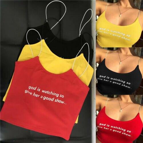 Hirigin Women Sexy Letter Print Camis Summer Casual Sleeveless Tank Top Vest Crop Tops