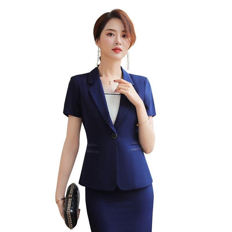 Kurzarm Uniformjacke Blazer blau Elegante Geschäfts Ol Büro Schönheit Black blue Suit Anzug Frauen Sommer Dame RockSchwarz Suit Karriere Set qMpGjLUzVS
