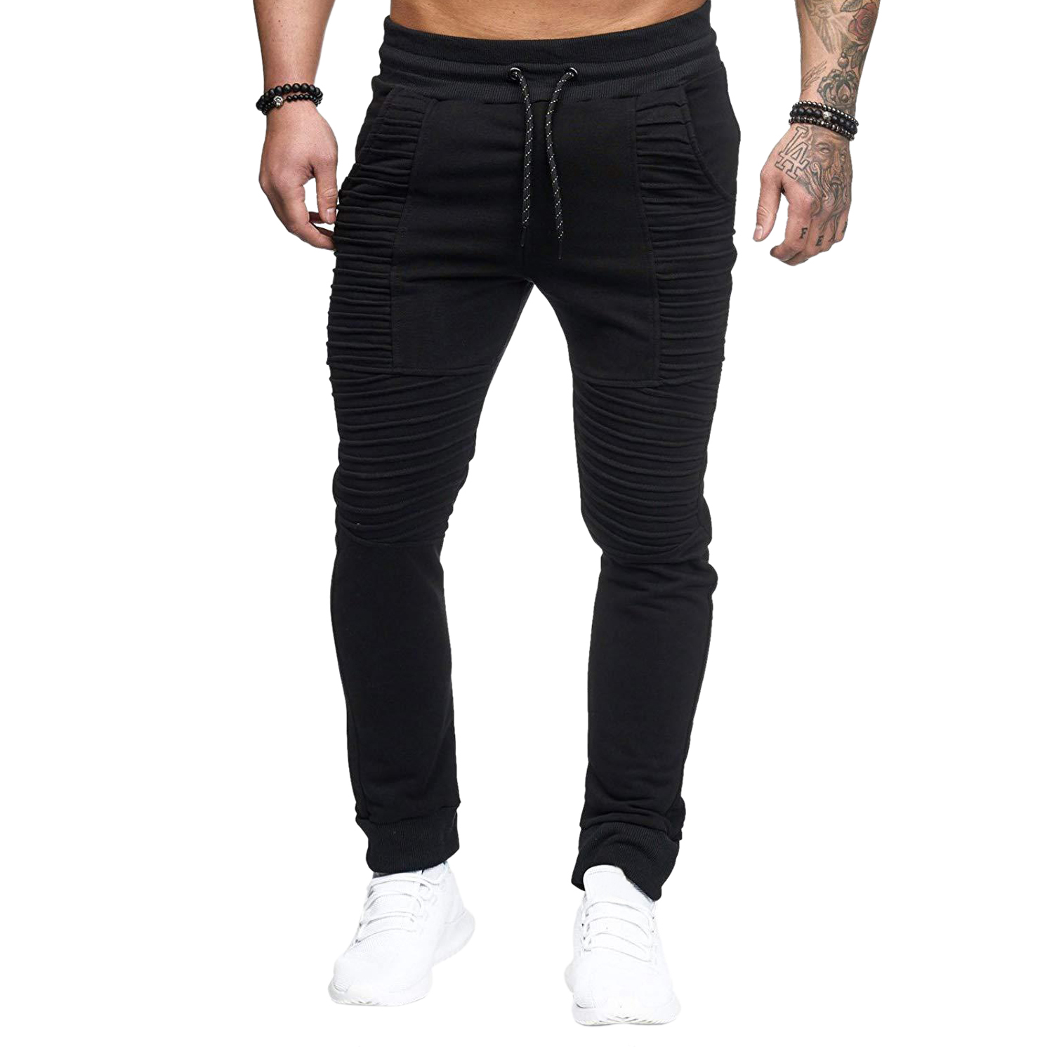 Trousers Pants Stretch Pleated Feet Elastic-Waist Fitness Hip-Hop Slim Striped Men Fashion