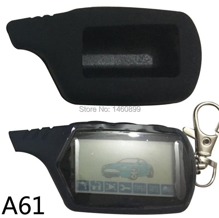 Two-way A61 LCD Chaveiro Controle Remoto + caso Chave de Silicone para a Chave Anti-roubo Cadeia Fob StarLine a61 2 maneira sistema de alarme de carro