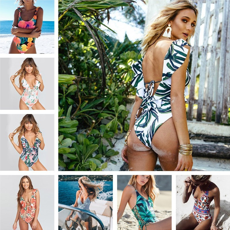 Print Swimsuit Women V-Neck Up Backless Monokini Beach Bathing Suit Swimsuits