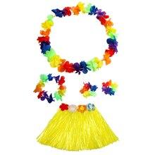 Hawaiian Fancy Dress Artificial Flowers leis Garland Necklace Hula Grass Skirt Lei Flower Kids Children Costume Party De