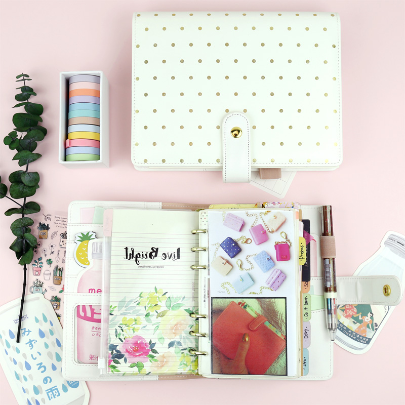 MyPretties Polka Gold Dots Binder Notebook A5 A6 Planner Organizer Agenda Journal DIY Kawaii Stationery