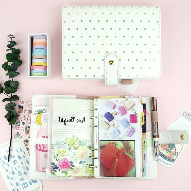 MyPretties Polka Gold Dots Binder Notebook A5 A6 Planner Organizer Agenda Journal DIY Kawaii Stationery