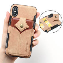 Slim Case For iPhone Xs Max Xr X Case Canvas pu Leather Shockproof Card Slot Wallet Flip Cover iphone xs max iphone xr back case цена