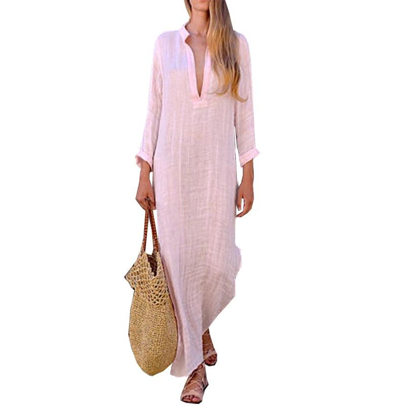 2019 Autumn Sexy Deep V-neck Dress ZANZEA Women Vintage Pockets Dresses Long Sleeve Shirt Vestido Maxi Dresses Kaftan Plus Size