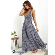 Summer Dresses 2019 New Causal Womens High Waist Long Maxi Sexy Halter Backless Print