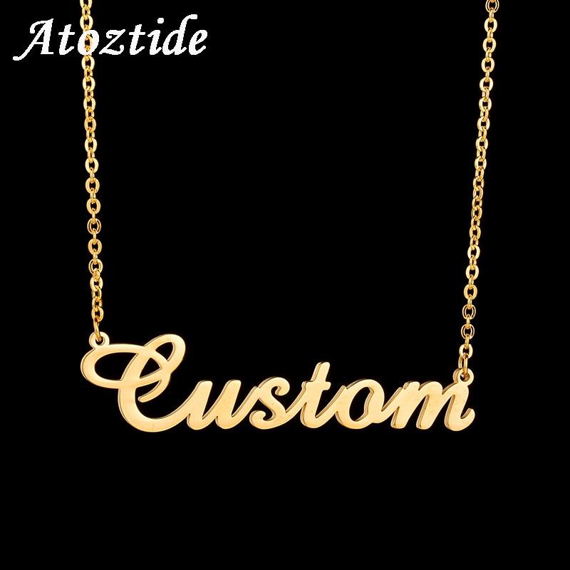 Atoztide Angepasst Mode Edelstahl Name Halskette Personalisierte Brief Gold Halsband Halskette Anhänger Typenschild Geschenk