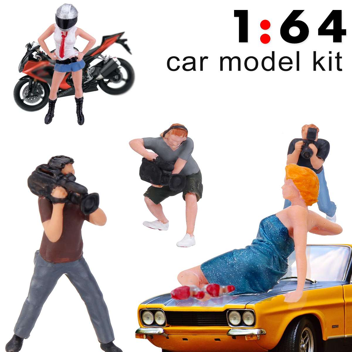 1Pcs 1:64 Paparazzi Photographer With Helmet Female Star Model Figure PVC People Scenario Model For Matchbox Children Toy Group