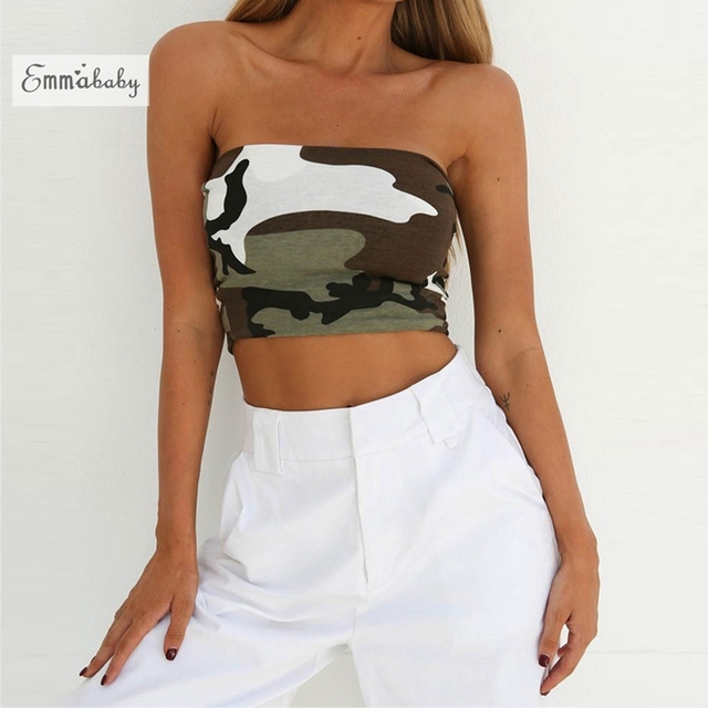 bd587fca12 HOT Summer Women Off Shoulder Camouflage Print Boob Elastic Tube Tops Bra  Blouses Strapless Sexy Bandeau Crop Tops