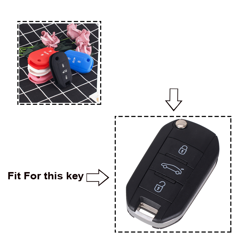 Image 2 - KEYYOU For Peugeot 508 301 2008 3008 408 For Citroen C4 CACTUS C5 C3 C4L Remote Car Key Shell Case Silicone Cover Bag 3 Buttons-in Key Case for Car from Automobiles & Motorcycles