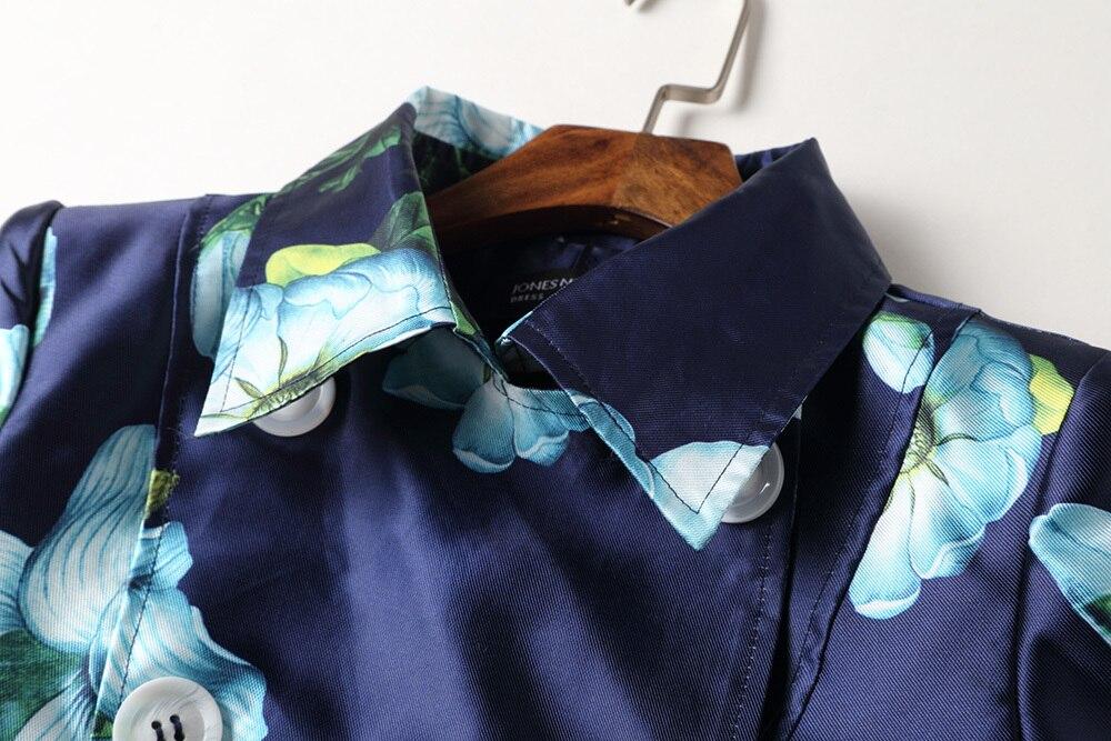 Automne Trench Survêtement Col down Floral coat Manteau Femme Navy Élégante Blue vent Coupe B378 Décontracté Printemps Femmes Turn 2018 Imprimé 4qxE707