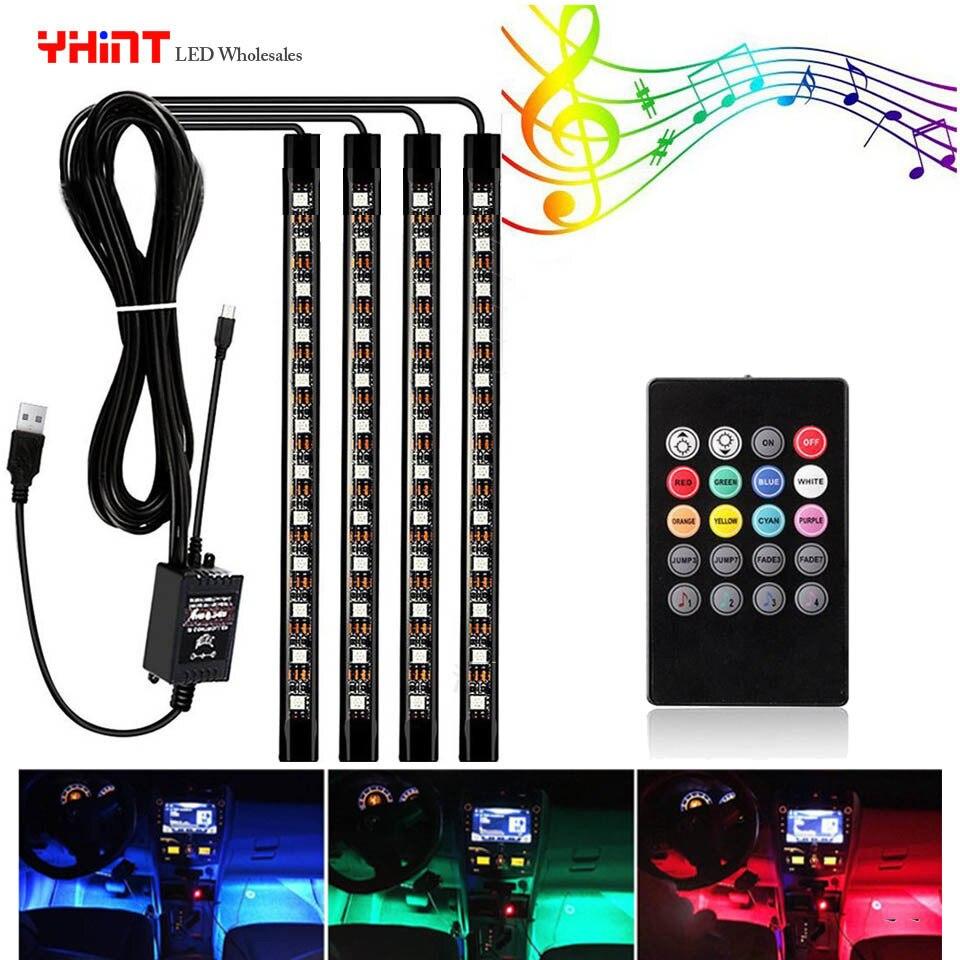 Bande LED pour voiture Atmosphère lumières imperméables 5050 4 en 1 36leds USB DC5V musique sync RGB changement de couleur avec le rythme