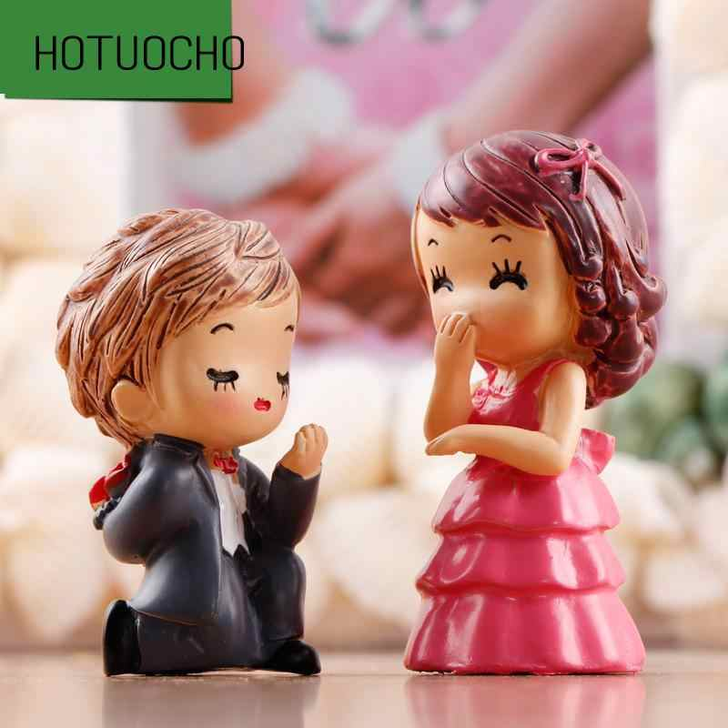 2 Pcs/lot Wedding Decorations Wedding Moss Micro Landscape Resin Placement Bride And Groom Crafts Home Decor Miniatures Figurine