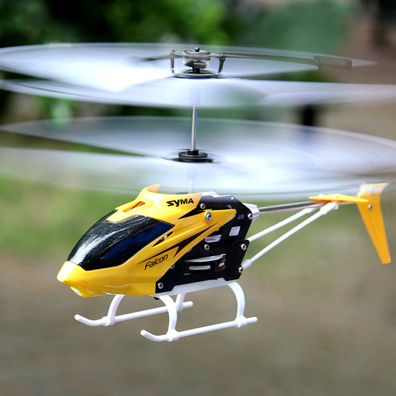 W25 Electric Mini RC Aircraft Remote Control Helicopter Shatterproof Flying Toys Model Doll for Boy Kids Gift Red Yellow