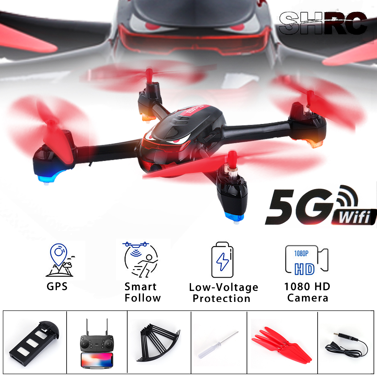Quadcopter Mini Drone with Camera 300m GPS Smart Follow 5G Wifi FPV 2MP 1080P HD Camera Altitude Hold RC Drone SH2Quadcopter Mini Drone with Camera 300m GPS Smart Follow 5G Wifi FPV 2MP 1080P HD Camera Altitude Hold RC Drone SH2