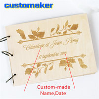 A5 Personalised Wedding Guest Book wooden Guestbook Signature Album Gift for Couple Rustic unique Gift Engraving name and date
