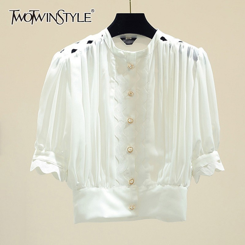 TWOTWINSTYLE Sexy Solid Hollow Out Blouse For Women O Neck Puff Sleeve Button Slim Shirt Crop Tops Female 2019 Summer Fashion