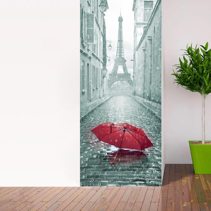 2 stks/set 3D Creatieve Stickers Deur Muur Sticker DIY Mural Slaapkamer Home Decor Poster PVC Waterdichte Deur Sticker Imitatie - 5