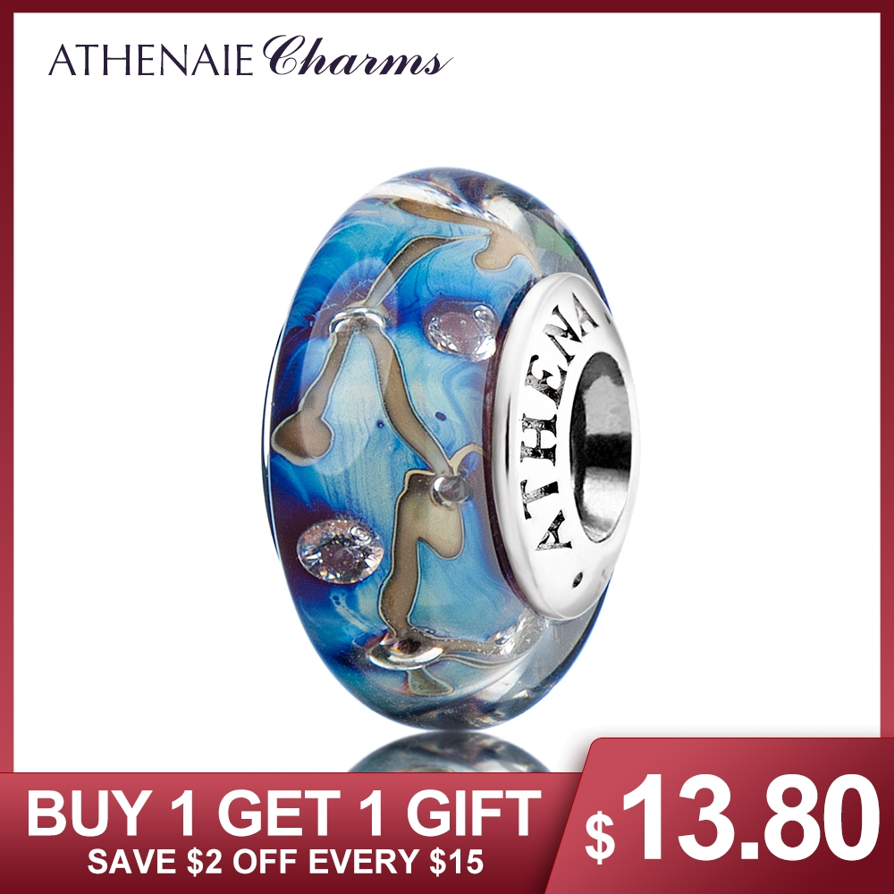 ATHENAIE Genuine Murano Glass 925 Silver Core Stars of Nights Charm Bead Fit European Bracelets Color Blue Christmas Jewelry