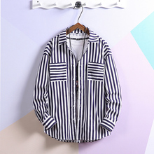 Cotton Male Stripe Shirt 2019 Spring Thin Fashion New Pattern Long Sleeve Leisure Loose Coat streetwear Best Blue Black Red fashion easy matched stripe pattern shirt