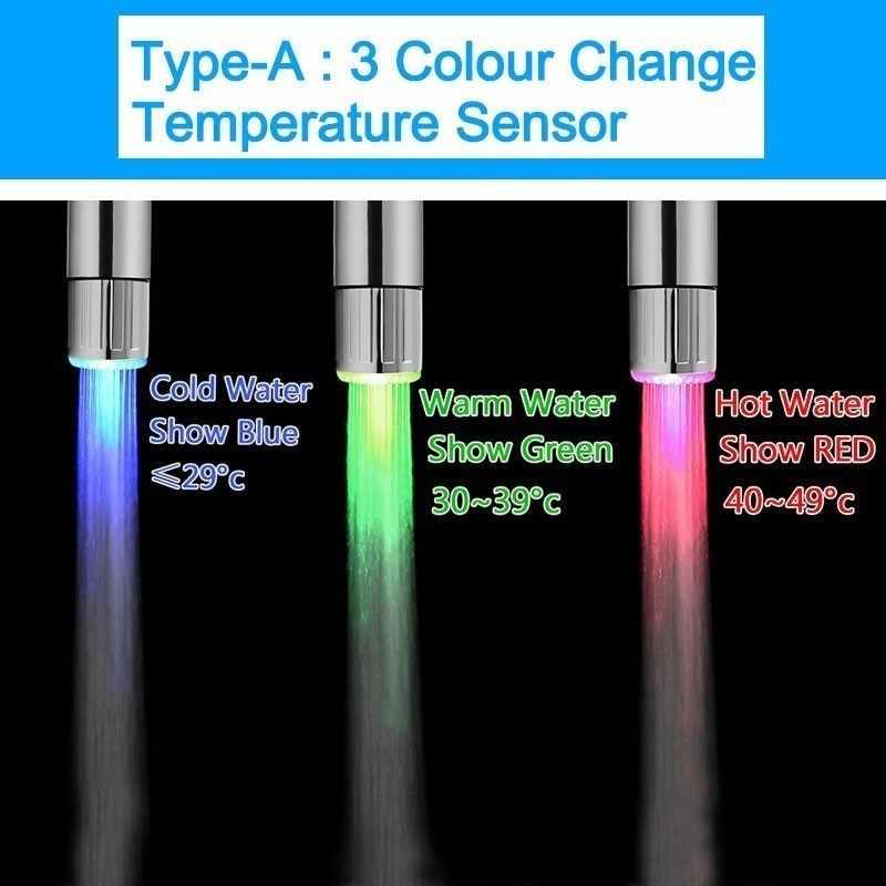 สีสัน LED ก๊อกน้ำ 7 สีเปลี่ยนฝักบัวห้องครัวแตะอุณหภูมิควบคุมอุปกรณ์ครัว