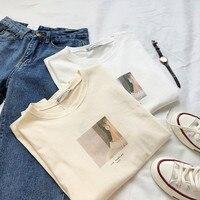 Женская бежевая футболка с квадратным принтом, короткий рукав Харадзюку, белая футболка, топы