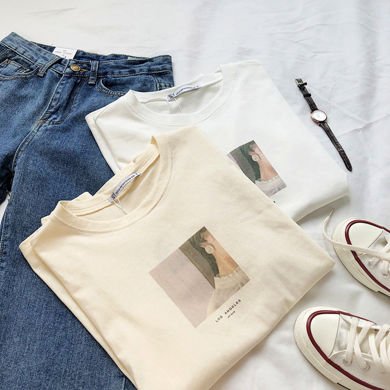 Square Character Print Women Beige   T     Shirt   Short Sleeve Harajuku White   T  -  Shirt   Tops