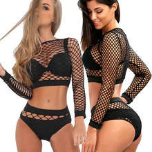 Women 2 Pieces Set Sexy Women Perspective Sheer Mesh Fishnet See through Hollow out Crop Top Clothes Set Cover Up Tee Bodycon(China)