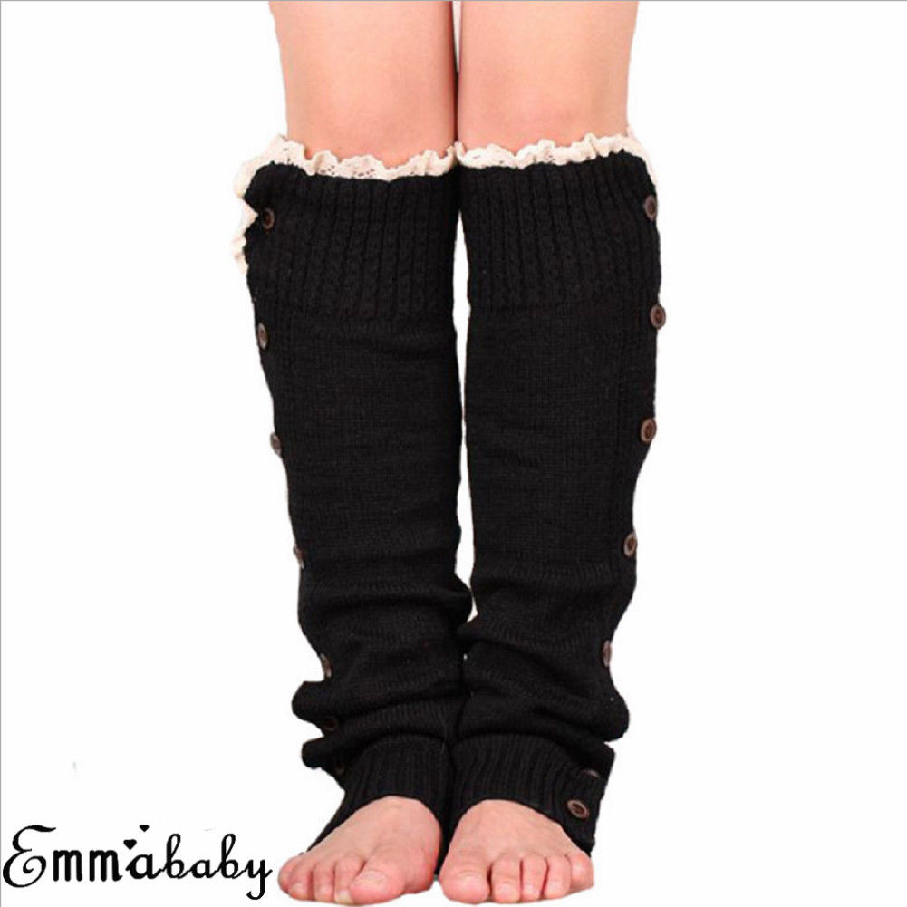 Women Ladies Winter Lace Up Button Solid Leg Warmers Button Crochet Knit Boot Socks Toppers Cuffs Knee Sleeve