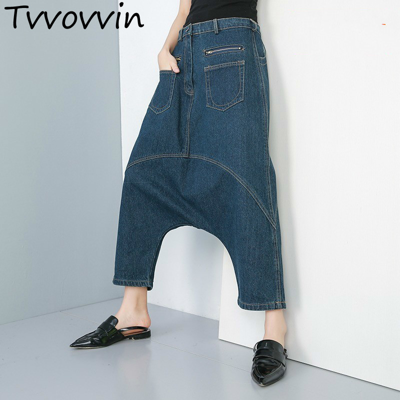 TVVOVVIN 2019 Spring Summer Clothes For Women New Denim Jeans Personality Ankle-length Cross Pants Loose Casual Trousers C118