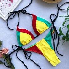 Разноцветное Сексуальное Женское неоновое бикини, набор пуш-ап, треугольный мягкий бандаж, купальник, бикини, купальный костюм, пляжная одежда