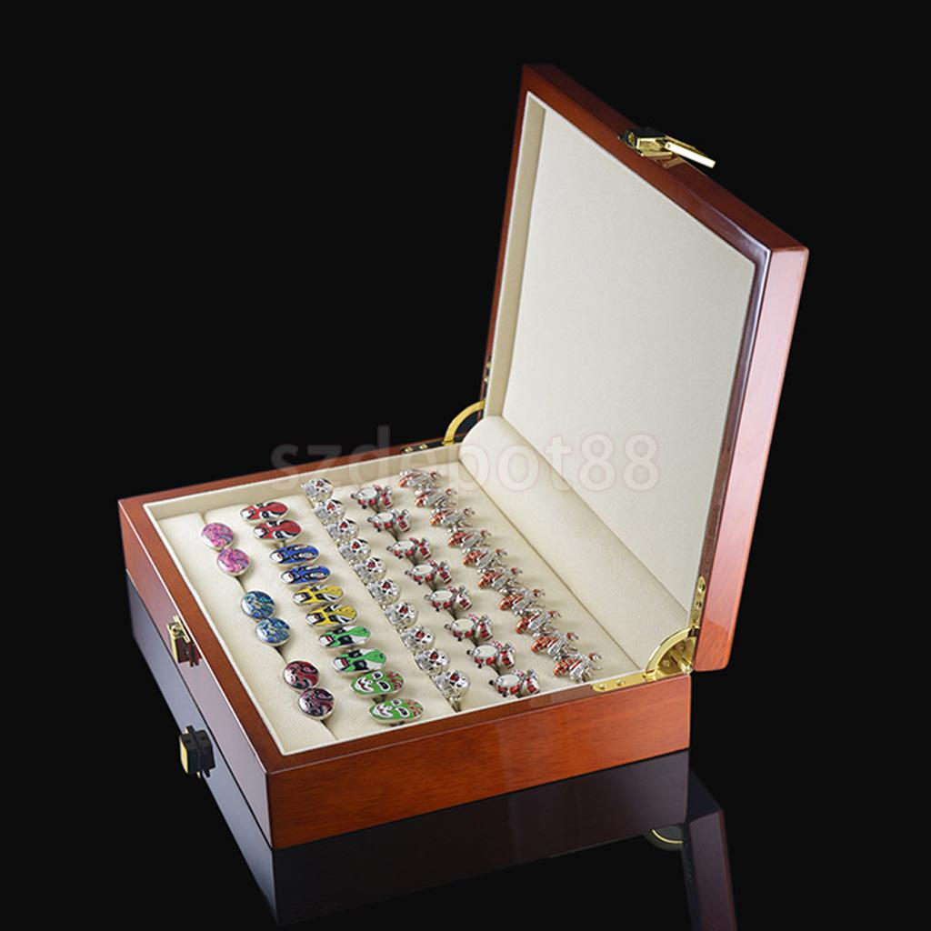 Vintage Large Wooden Ring Earring Jewelry Display Box Case Storage Organizer