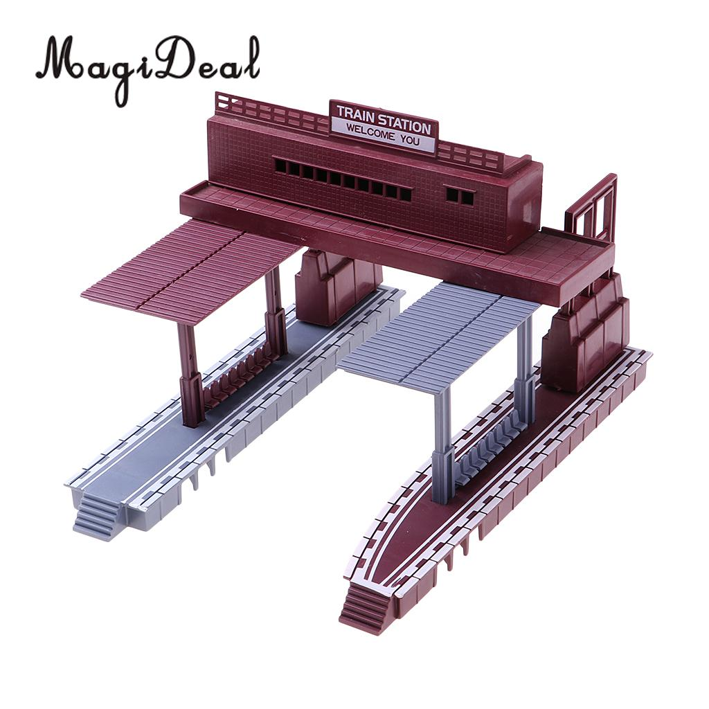 1:87 Scale Train Station Architectural Model Building Kit Railway Railroad Street Scenery Children Kids Toys Gift