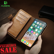 FLOVEME Luxury Retro Leather Phone Case For iPhone X 8 8 Plus Magnetic Wallet Bag Case For iPhone 7 7 Plus 6 6s Plus Cover Coque