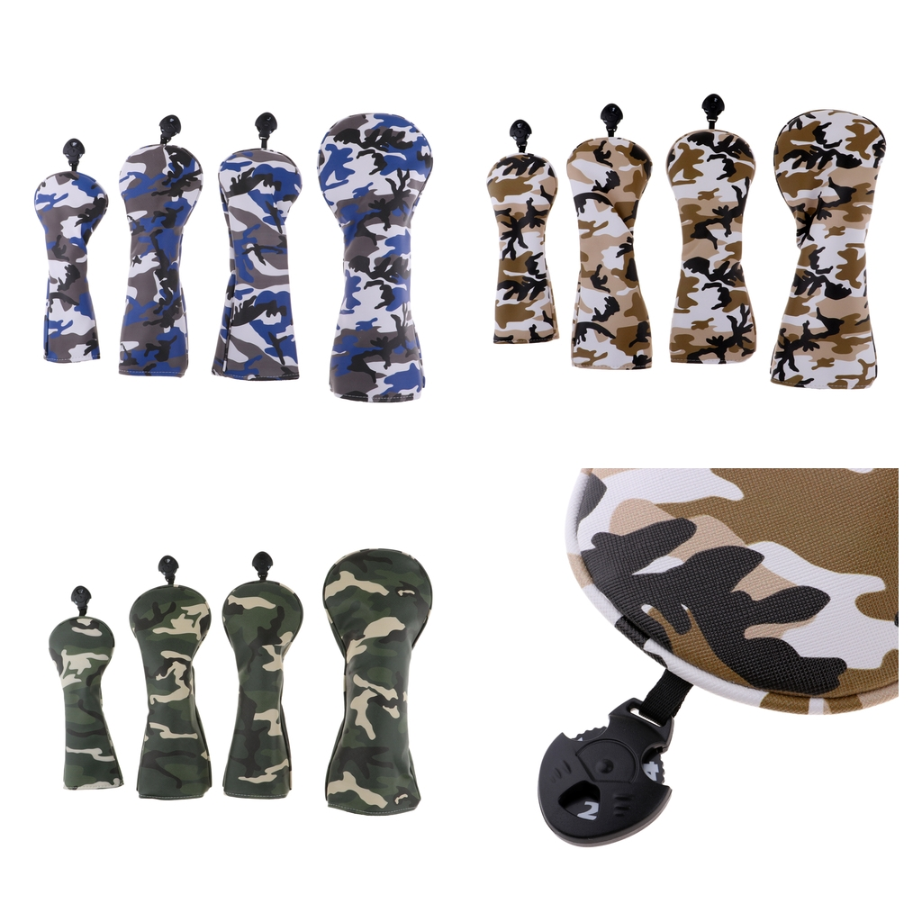 4Pcs PU Golf Head Covers For #1 Driver #3 #5 Fairway Woods Clubs Headcovers & Interchangeable No. Tag - Camouflage Pattern