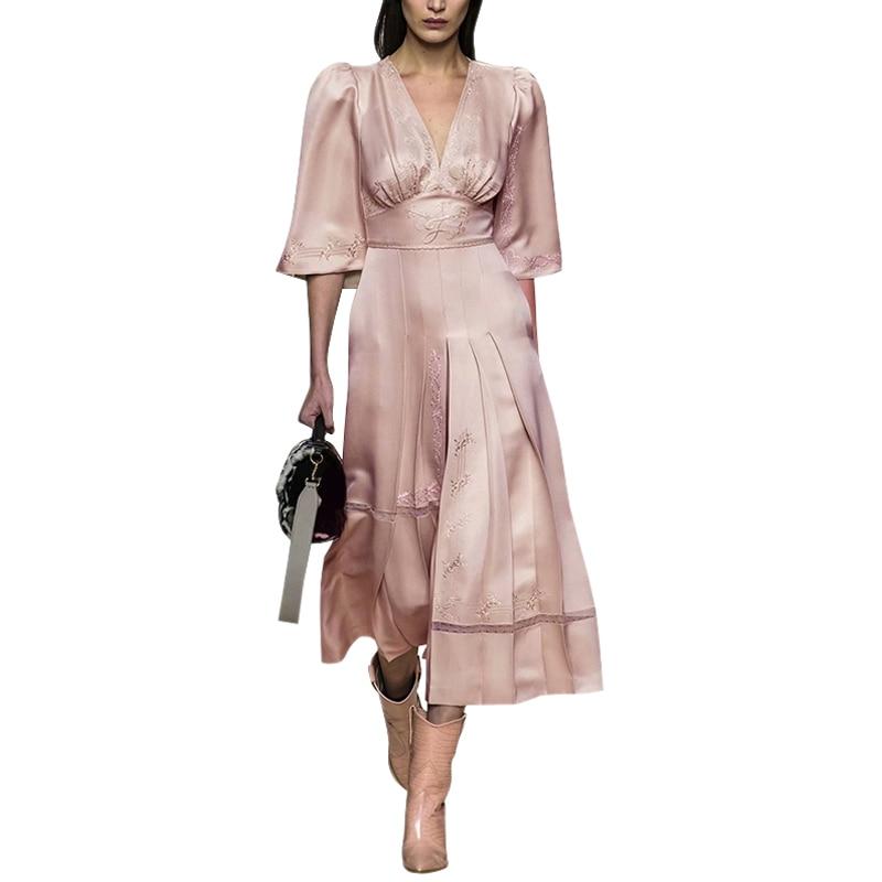 Ropa de mujer elegante cuello en v cintura alta abertura acampanada media manga plisada una línea midi vestido de mujer de encaje blanco insertar vestido rosa-in Vestidos from Ropa de mujer    1