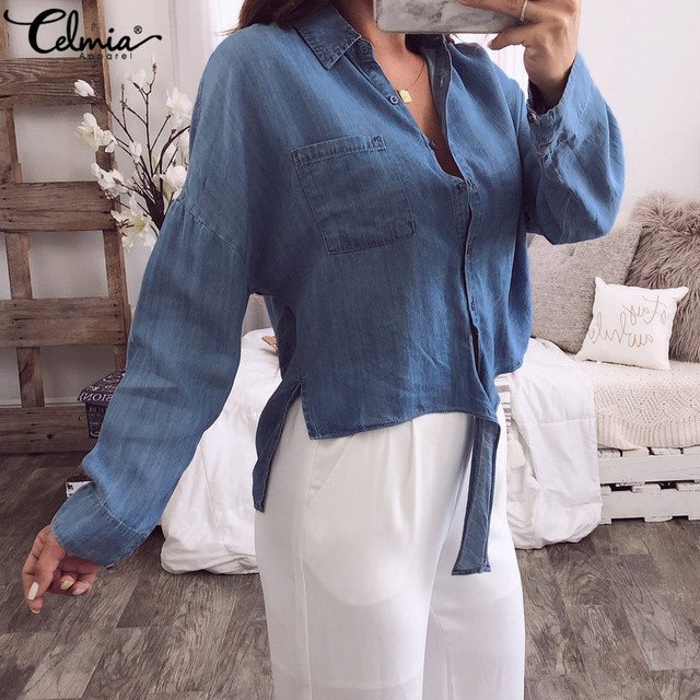 a16e3407f36 2019 Autumn Celmia Women Denim Blue Blouse Long Sleeve Button Down Sexy  Shirts Loose Casual Top Asymmetric Knot Blusas Plus Size