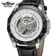цена на Winner Skeleton Watch Silver Hands Special Design Arabic Number Analog Men Watches Top Brand Luxury Men Mechanical Watch