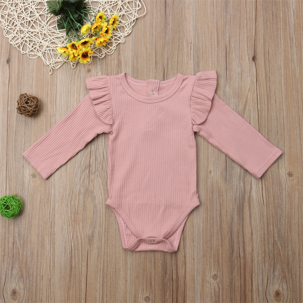 2020 Brand New Newborn Infant Kids Baby Girls Boys Autumn Causal Bodysuits Ruffles Long Sleeve Solid Warm Jumpsuits Outfit 0-24M 3