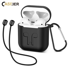 CASEIER Earphone Box For Apple AirPods Wireless Bluetooth Headphone Cover Anti-lost Rope Protective Case AirPod Accessories