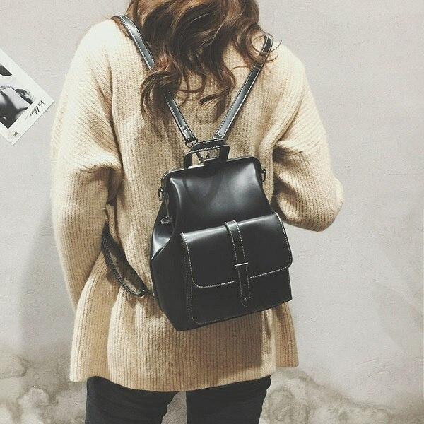 5fa75c994bf2 Miyahouse новый модный однотонный рюкзак для женщин из искусственной кожи с  металлической пряжкой рюкзак женский ретро большой емкости рюкзак .