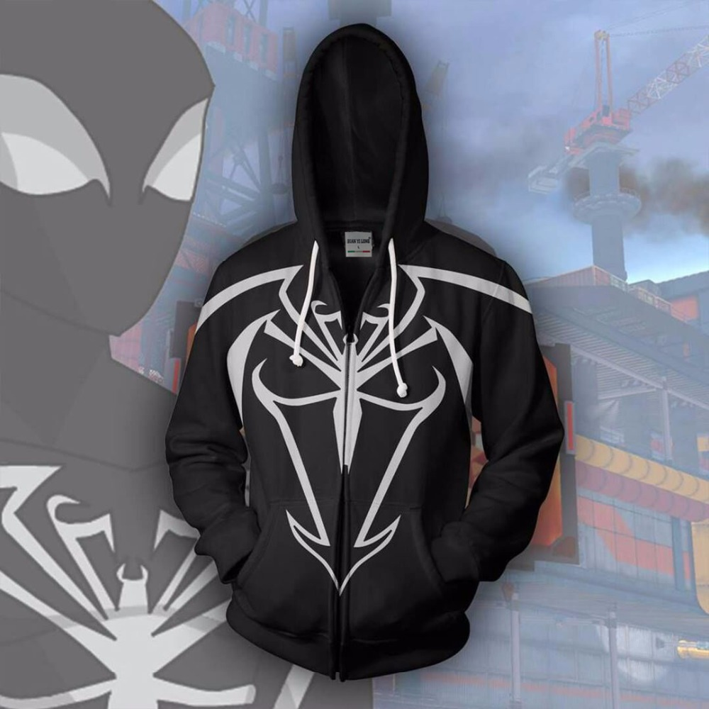 Bianyilong 2018 New Men Hooded Unlimited Symbiote Sper -Man 3d Printed Hoodies Tracksuit Zipper Hoodie Hooded Hip Hop Tops