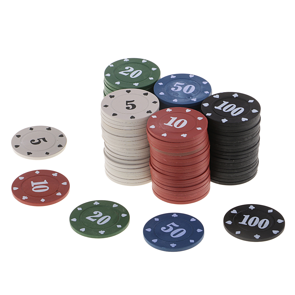 100Pcs Casino Tokens Coins Round Poker Chips 5 10 20 50 100 For Gambling Toy