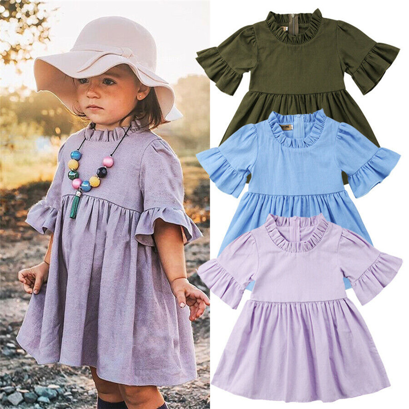 Toddler Baby Girls Sleeveless Solid Vest Dress Backless Dresses 6M-4T Baby Dress