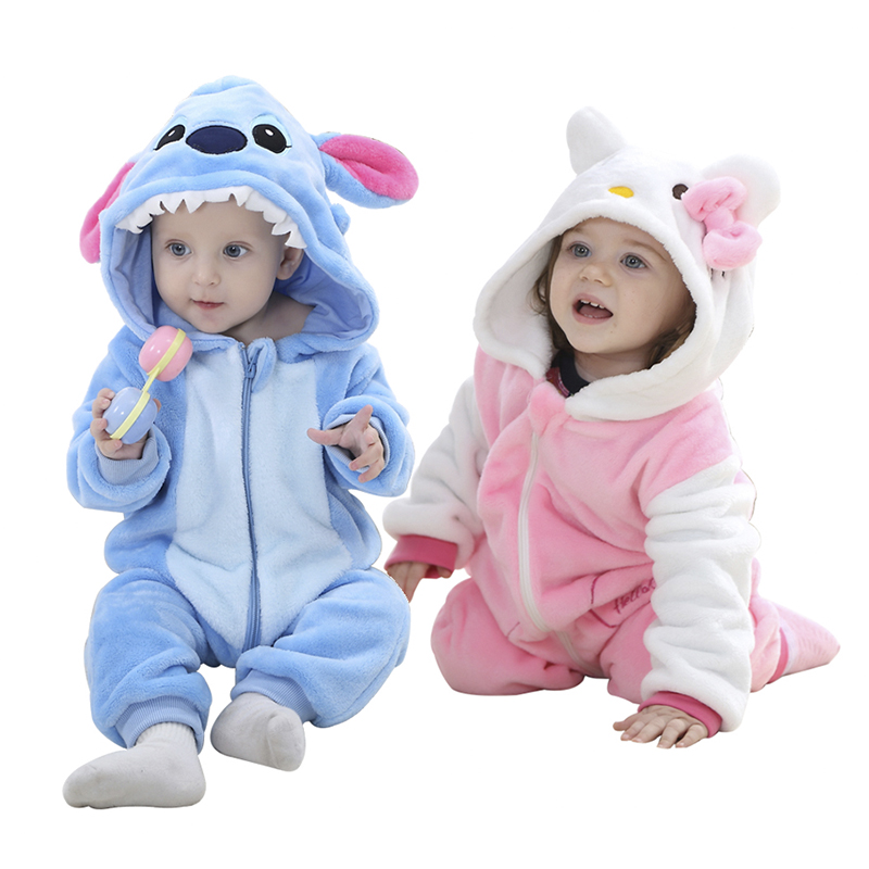Baby Girls   rompers   new born baby Clothes Hooded Boys Kids jumpsuit Brand Long Sleeve Soft Flannel Animal Kawaii costume 0-24M
